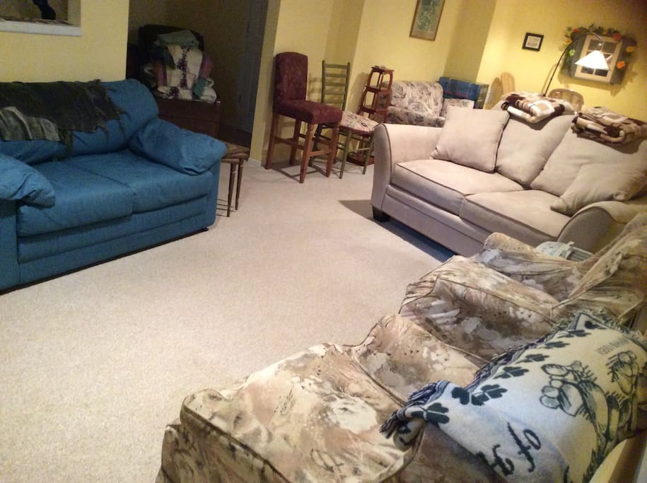 "Living room with ample seating and pull out double bed. 55"" flat screen LCD TV. Basic cable, DVD player, Free Netflix.....roku.....Nintendo and Play Station 2 ready for the kids or your husband. Free Wi-Fi."