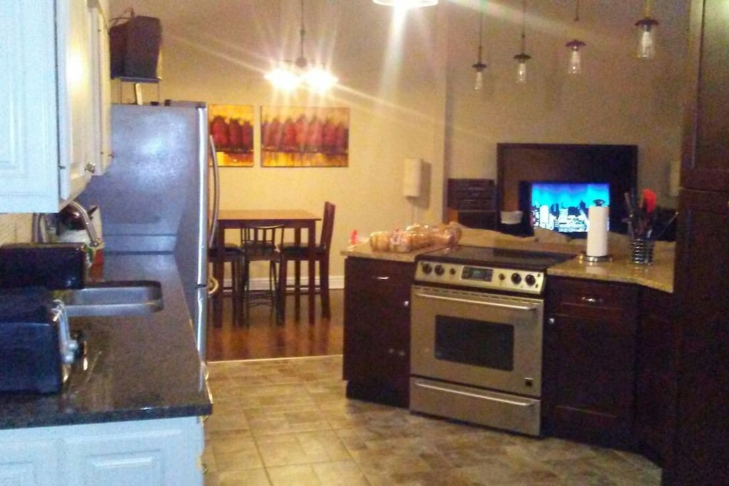 open kitchen, dining, family area