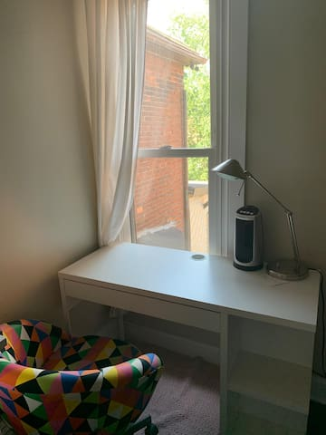 Desk and chair for studying. plus with big window
