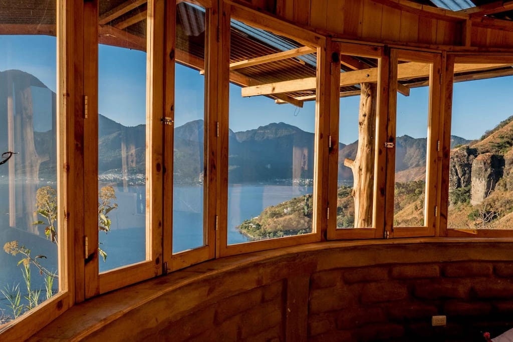 Bay windows surround the front of the cabin - offering you the world....