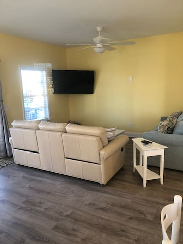 Living area with 55 inch TV