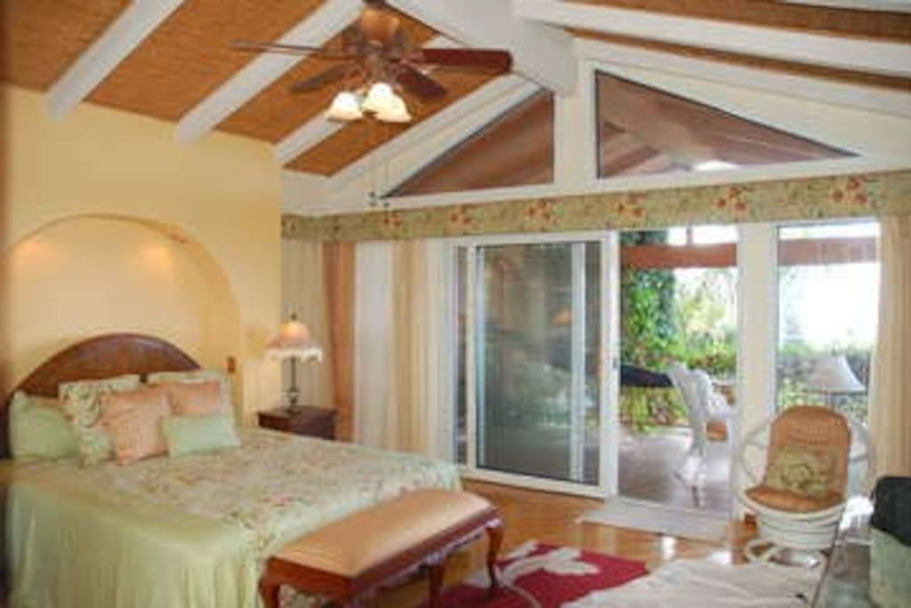 Master Bedroom with King bed, tv, ac, office, lanai with hammock and sitting area, and delux custom-tile bath (4th bedrooom, on the 2nd floor)