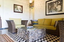 The chic living room seating area.