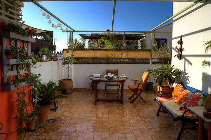 Private room  and sunny terrace in historic center