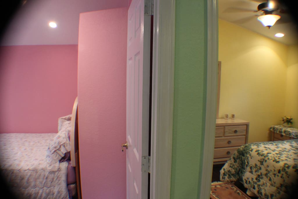 You can see the entrance to both bedrooms
