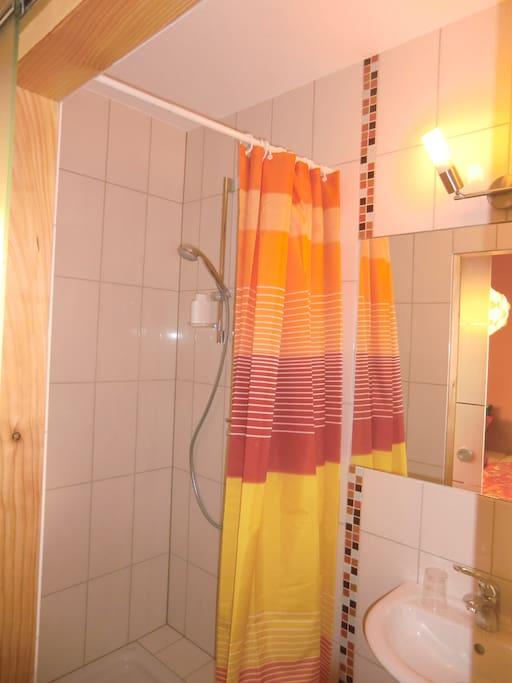 Dusche Toilette und Waschbecken