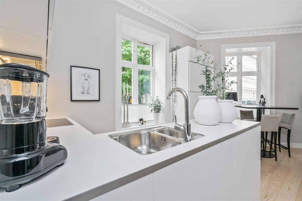 Open kitchen facing living room