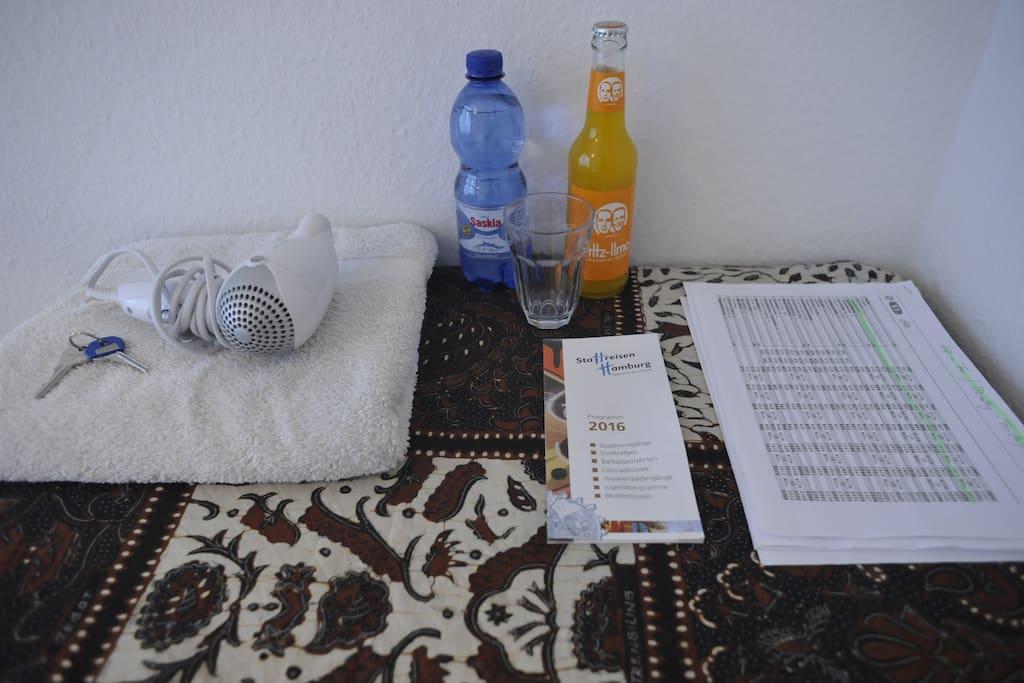 towels, hair-dryer, drinks, sight seeing, train schedule
