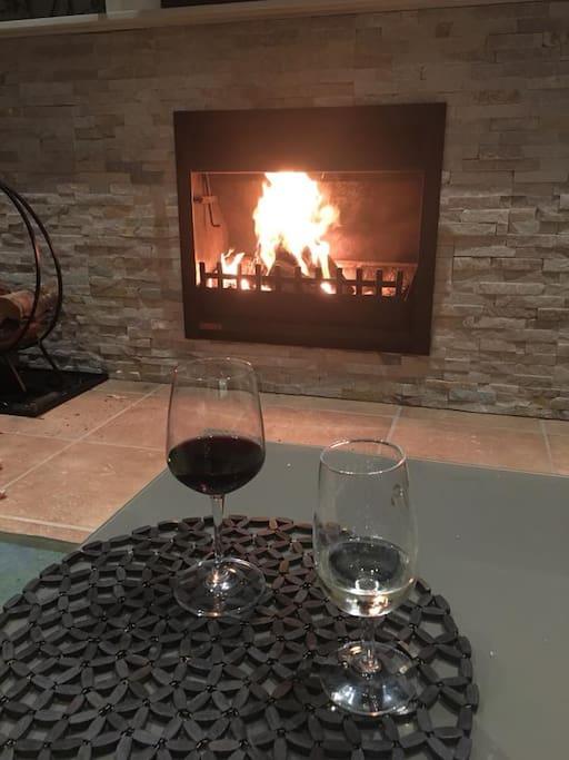 Open wood fire in communal lounge