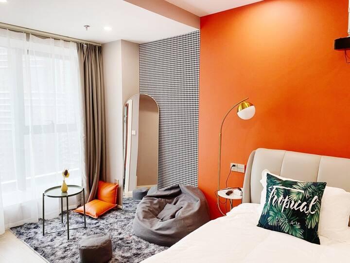 一宅19Loft公寓•橙-投影大床房