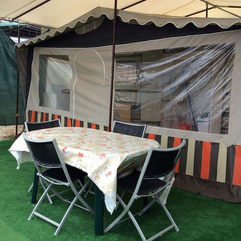 Caravan in a campsite