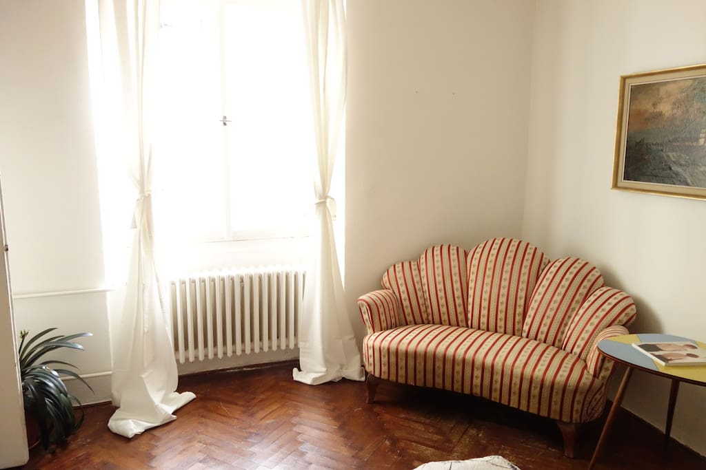 Your room is cozy and sunny. Have a nap on original biedermeier sofa!