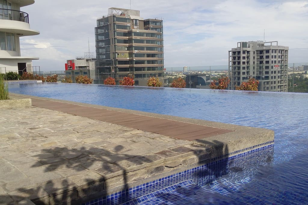 View of the IT Park and city from the pool