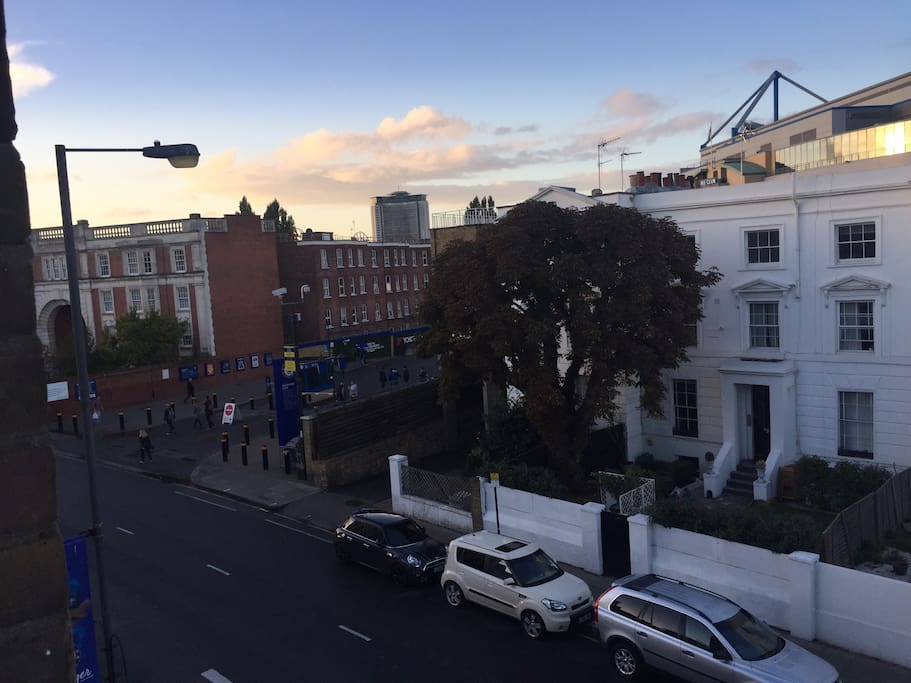 View from the kitchen window of Stanford Bridge and Fulham Road.