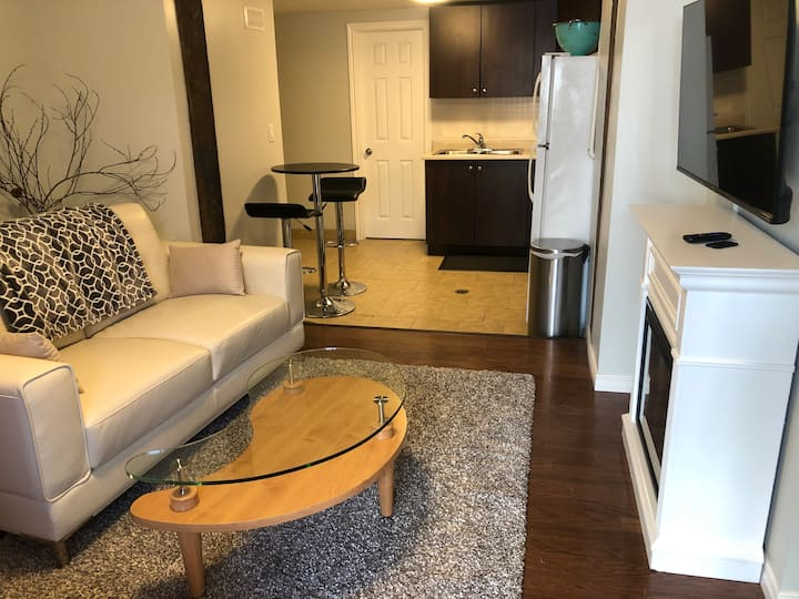 Comfy queen apartment near downtown and bell park
