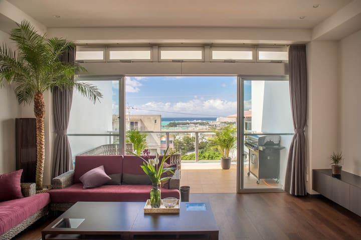 N海の眺め最高❗沖縄最大14人まで追加料金無し5寝室14ベッド4バス3トイレ会わずにインアウトBBQ