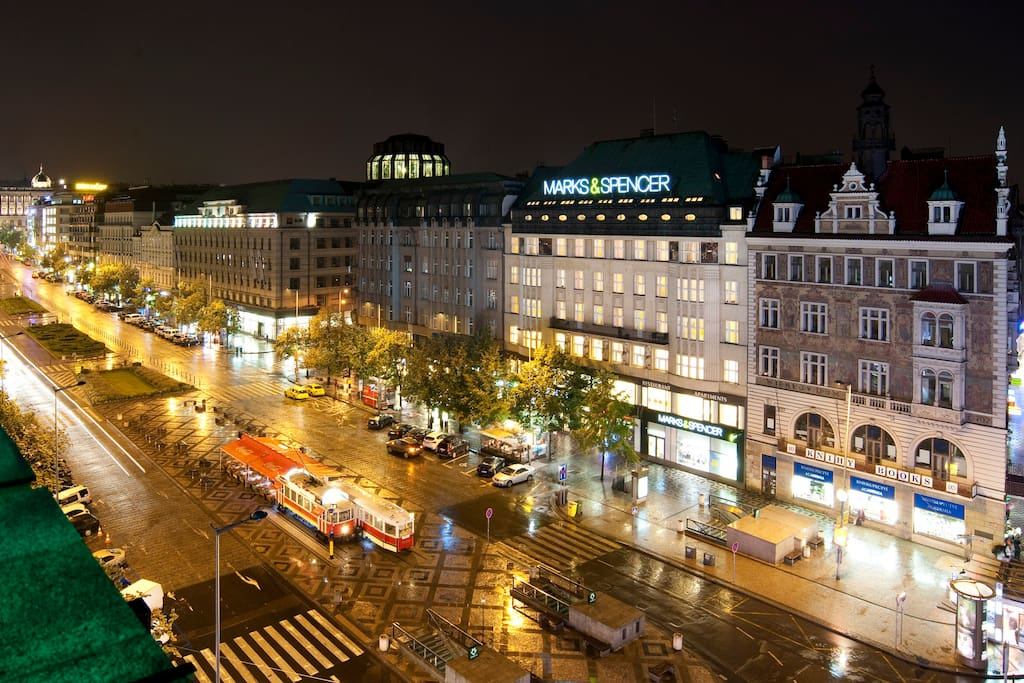 Wenceslas Square with Marks & Spencer building where is the apartment.