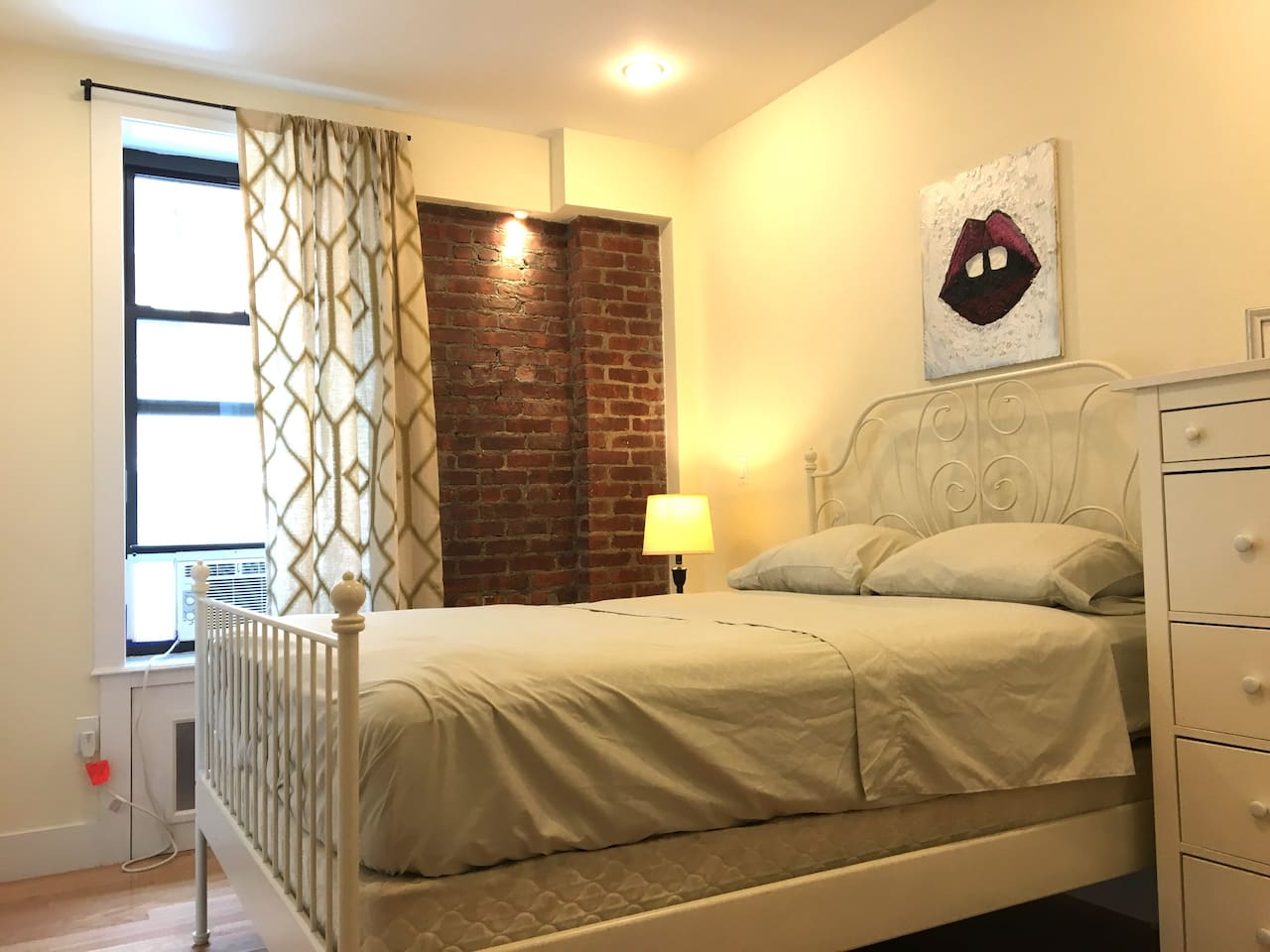 Queen- sized bed, dresser, and closet to make you feel right at home!