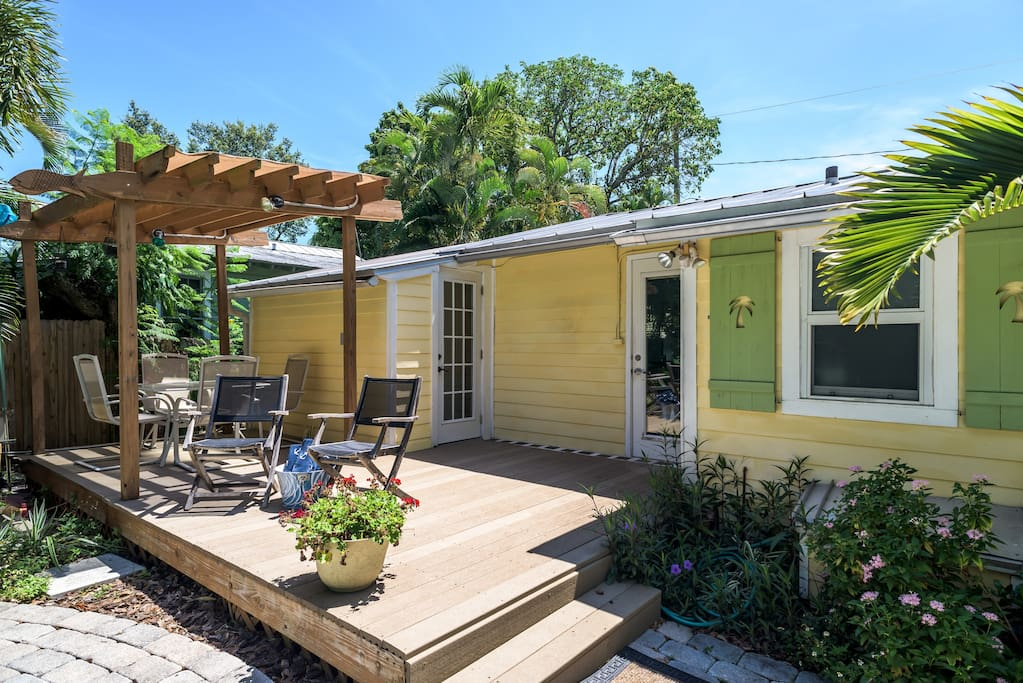 The back deck is perfect for outdoor dining or catching some warm, Florida sunshine!