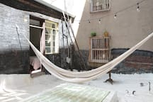 The hammock is accessible via the main room. Just ask if you'd like to use it! *** the backyard is closed for the winter.