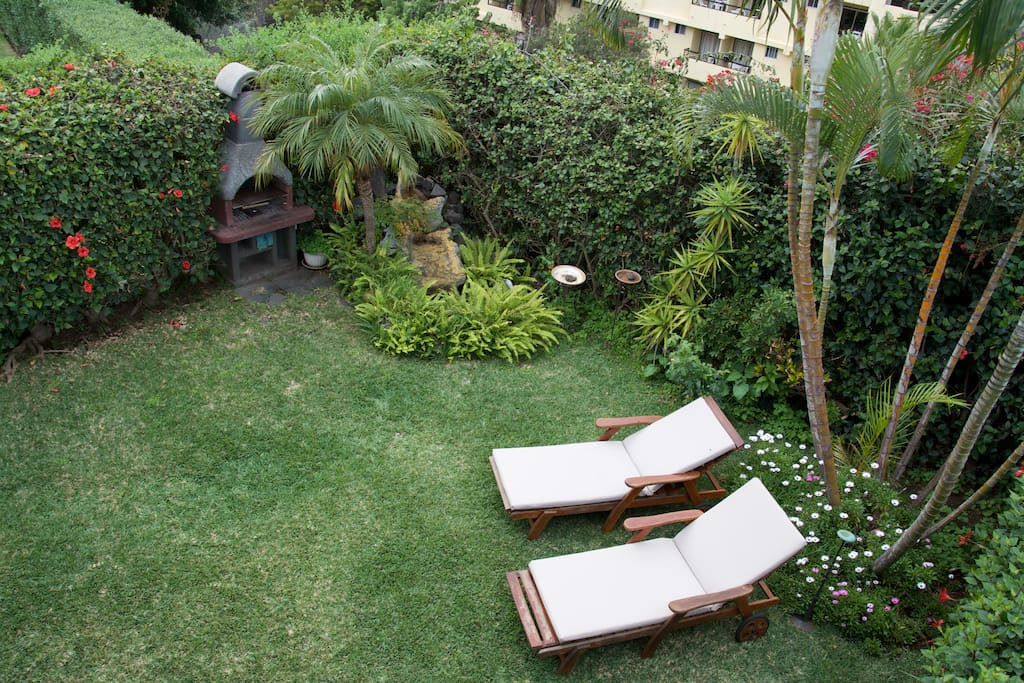 Vista del jardín con barbacoa