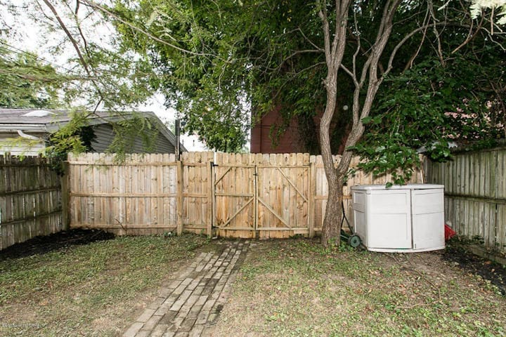 Fenced-in back yard
