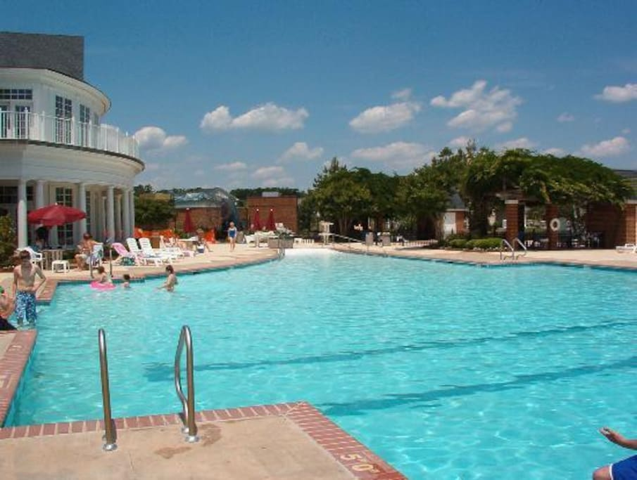 Community pool in the summer