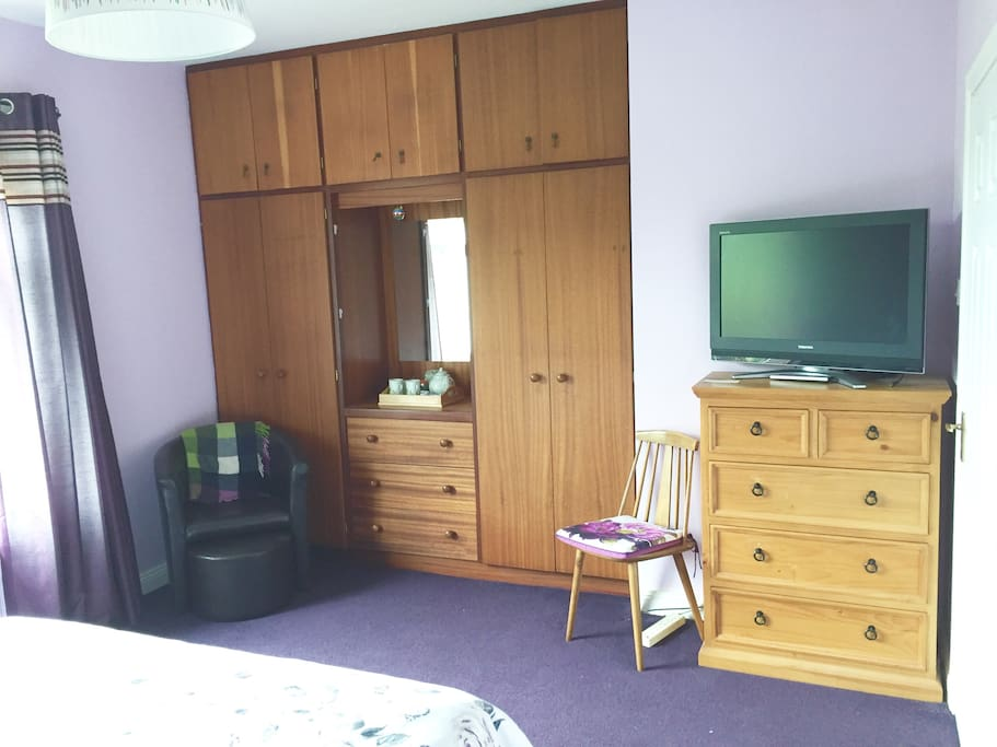Bedroom. Plenty of wardrobe & draw space plus a large screen TV/DVD player with a large selection of DVDs for you to enjoy.