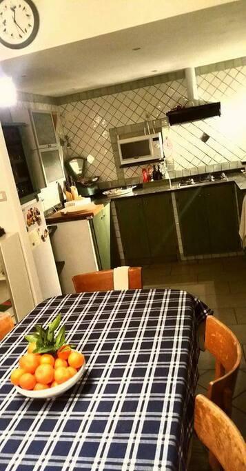 Openspace con cucina in muratura (fornello, lavastoviglie, microonde, forno, frigo)