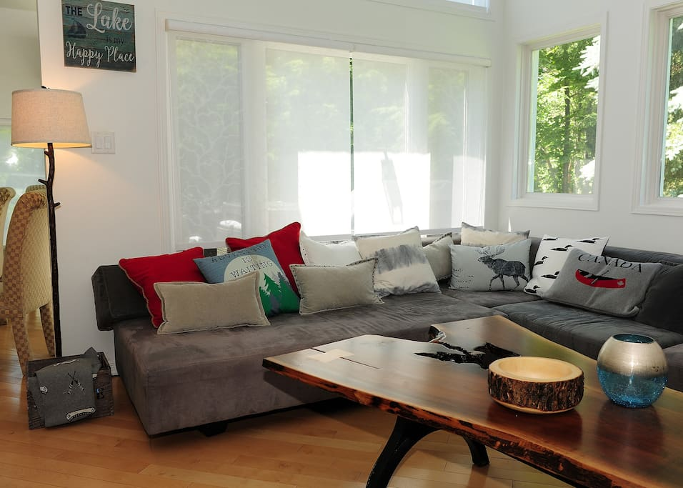 Comfy couch with a gorgeous wooden table