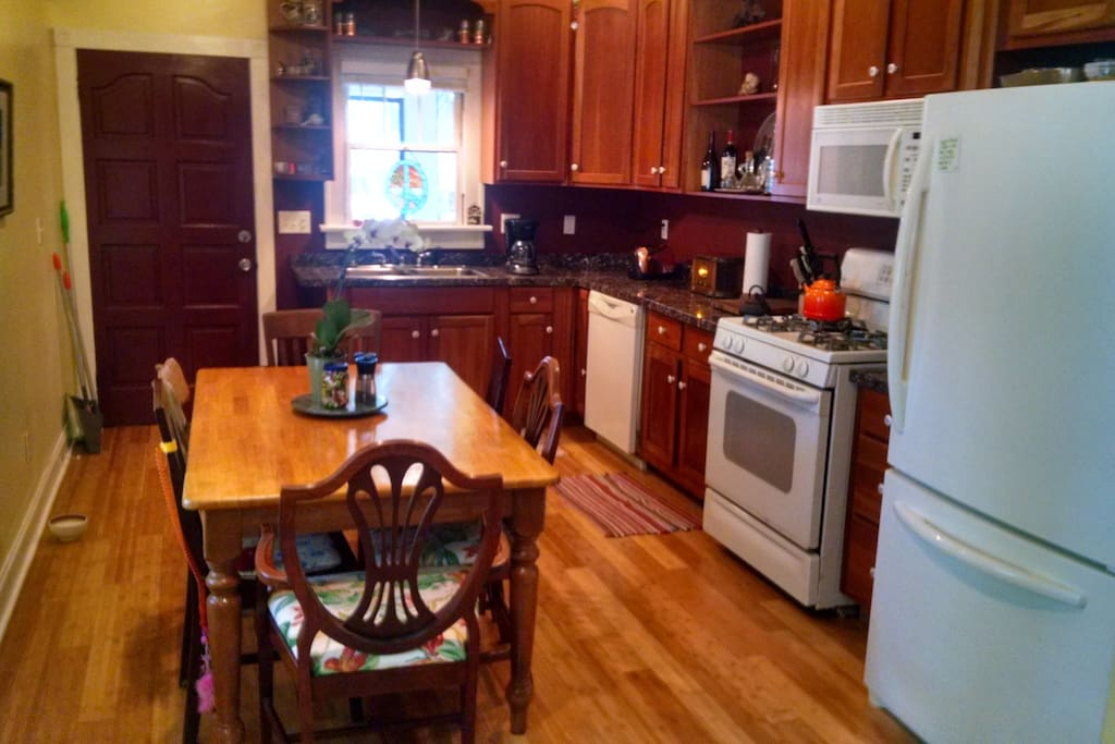 Fully equipped large kitchen area. Table seats six.
