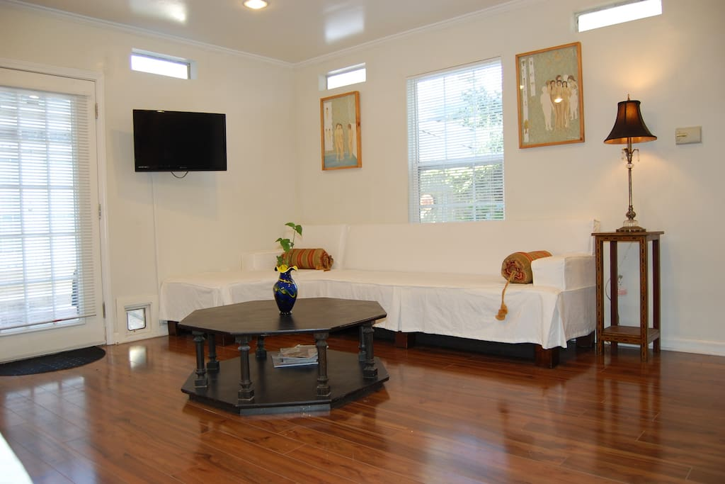 Ample sitting area, inside and in the garden