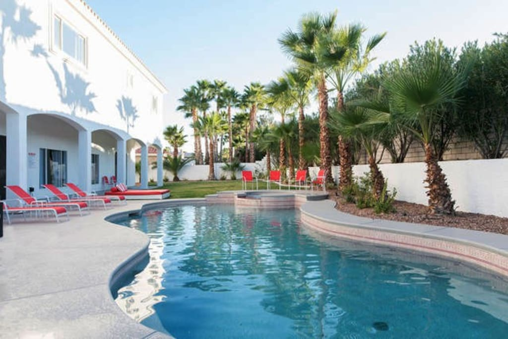 Your group won't want to leave the backyard  paradise. Enjoy the fabulous resort-style swimming pool, attached hot tub,  BBQ Grill and lawn games.
