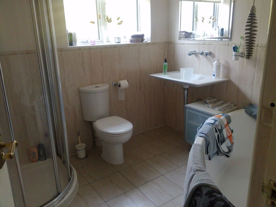 private shower, bathroom for guests only.  please wipe down if you unintentionally make a mess.