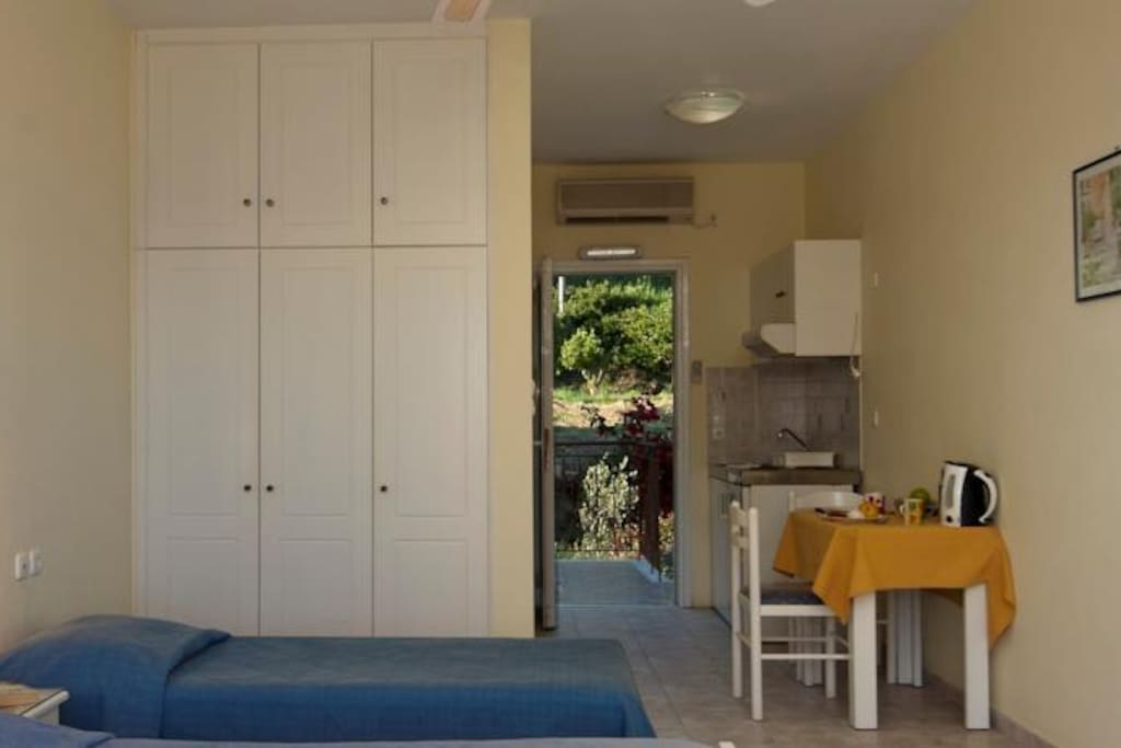 Each room offers spacious closet, 2 single beds, kitchenette, bathroom with WC, shower, sink and a balcony.