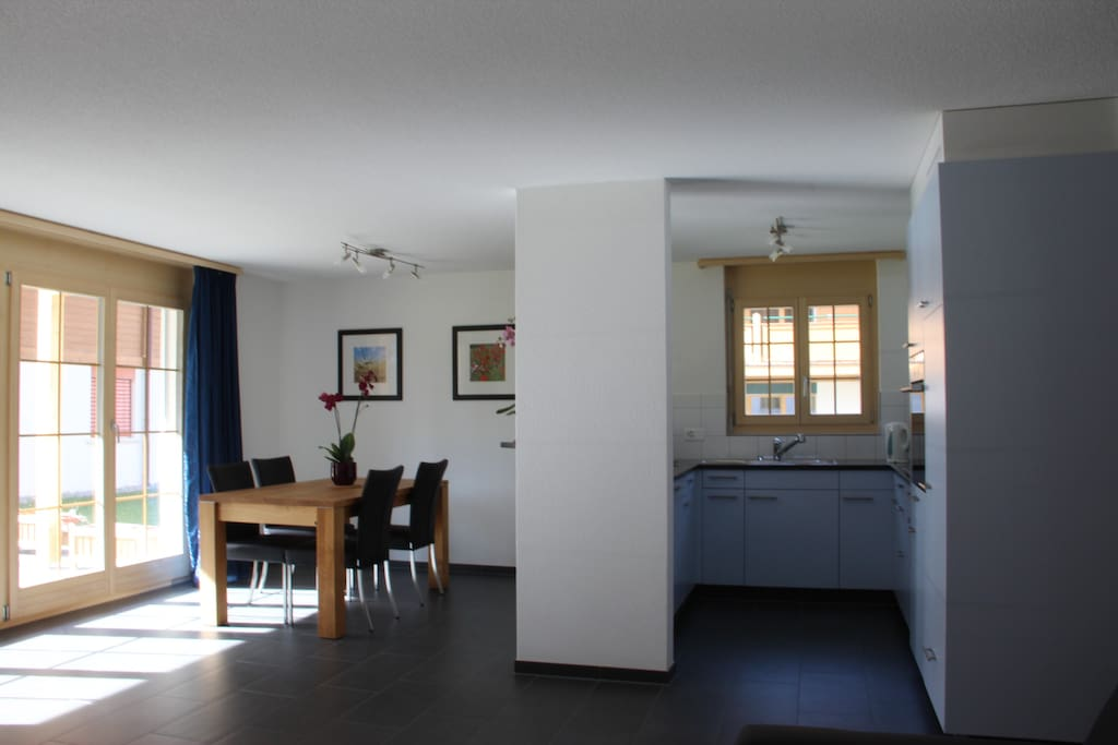 Modern spacious apartment and private patio with stunning views down the valley