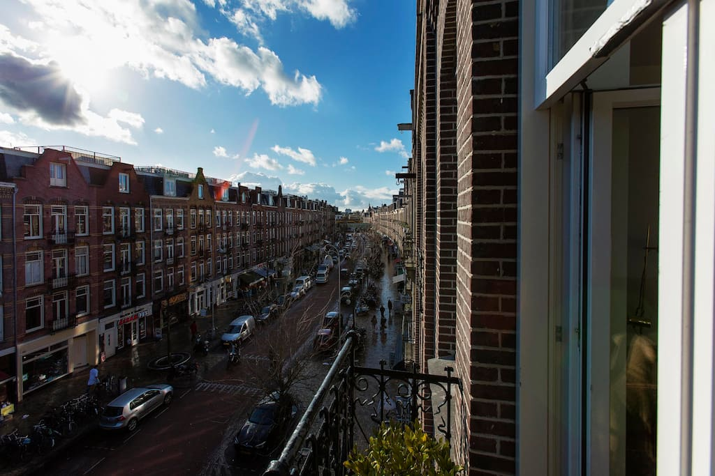 view on one of the most trendy streets of Amsterdam