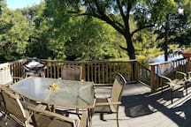Outdoor deck with barbecue, over looking the river