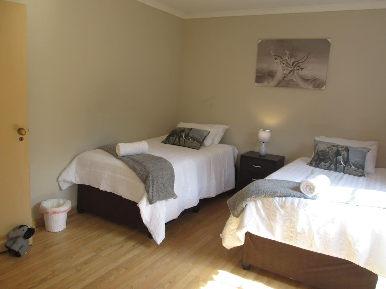 Elephant room with 2 single beds
