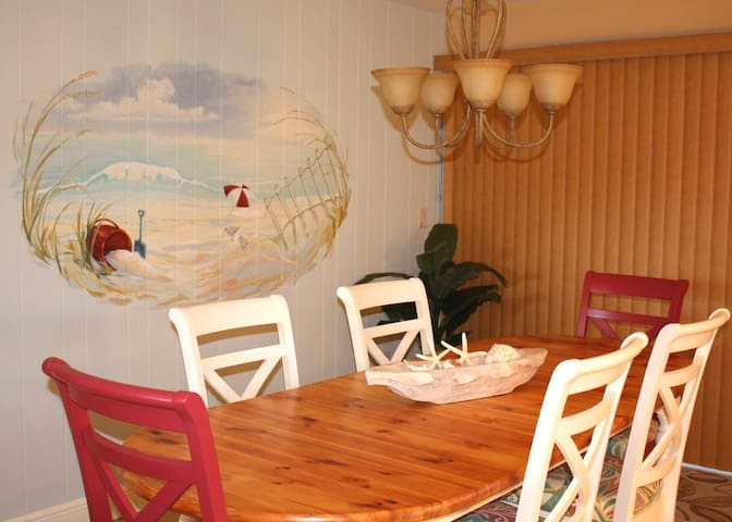 Large dining room table seats 8