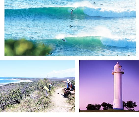 Yamba  lighthouse and beach