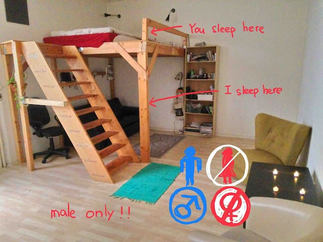 one bed in a shared room (for male only)