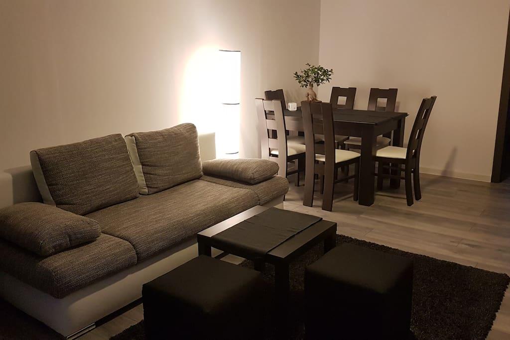 Living room, double sofa