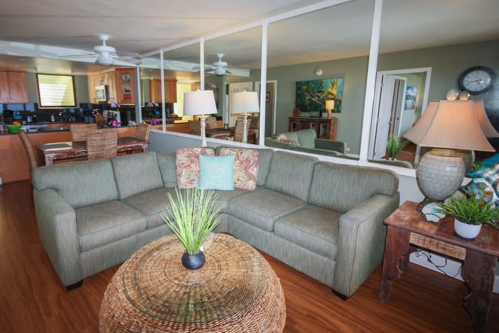 Living Room, Dining and Kitchen Areas