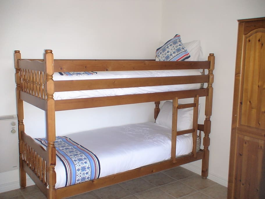 Nautical Double Single Bunks With Secure Ladder In 2nd Bed Room - Under Bed Storage For Luggage