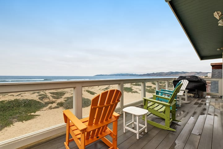 Beachfront home w/ private hot tub, amazing ocean views & two-level deck!