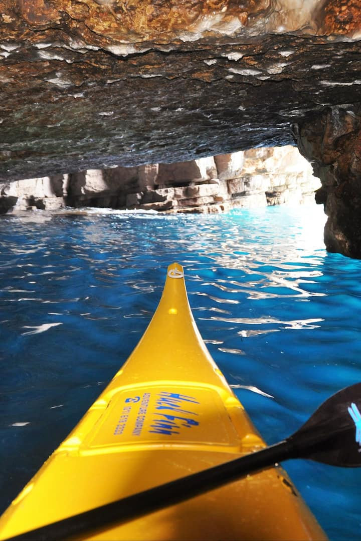 Kayak in the blue cave