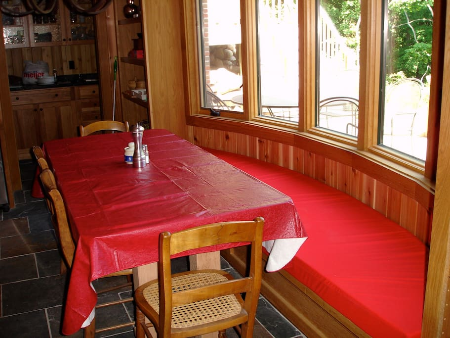 Kitchen farm table with view of ravine