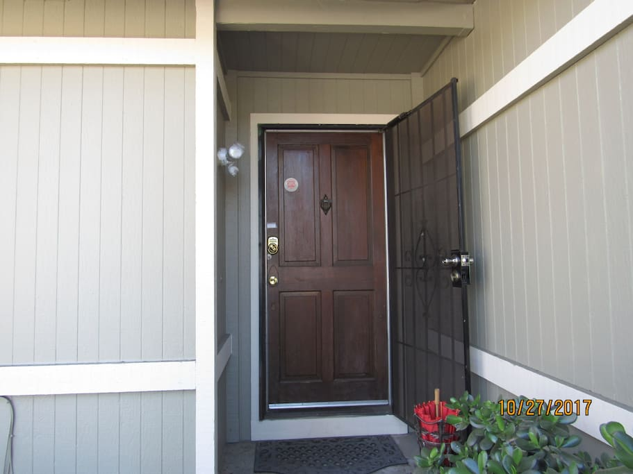 Front door using electronic lock