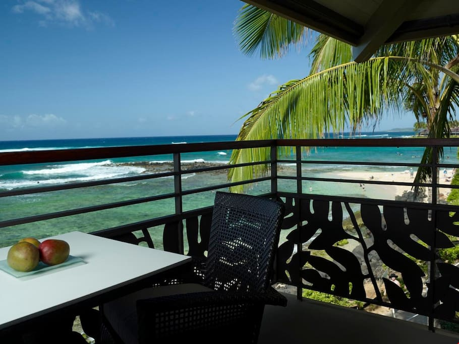 Enjoy beautiful views from your beachfront apartment.